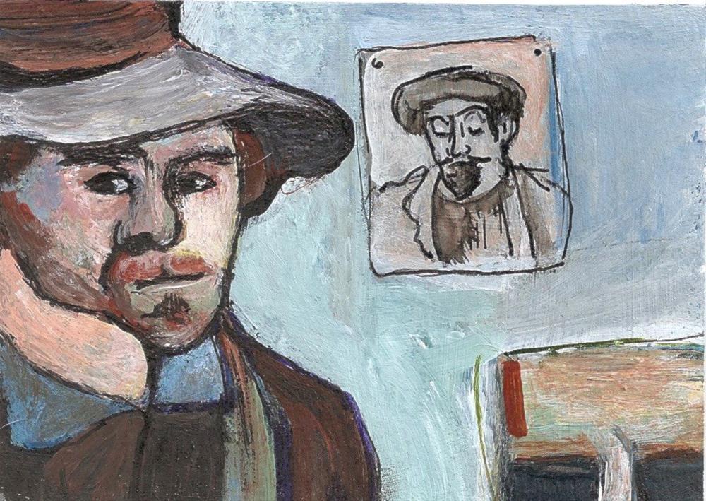 """""""ACEO In the Style of Emile Bernard Self portrait + Paul Gauguin Penny StewArt"""" original fine art by Penny Lee StewArt"""
