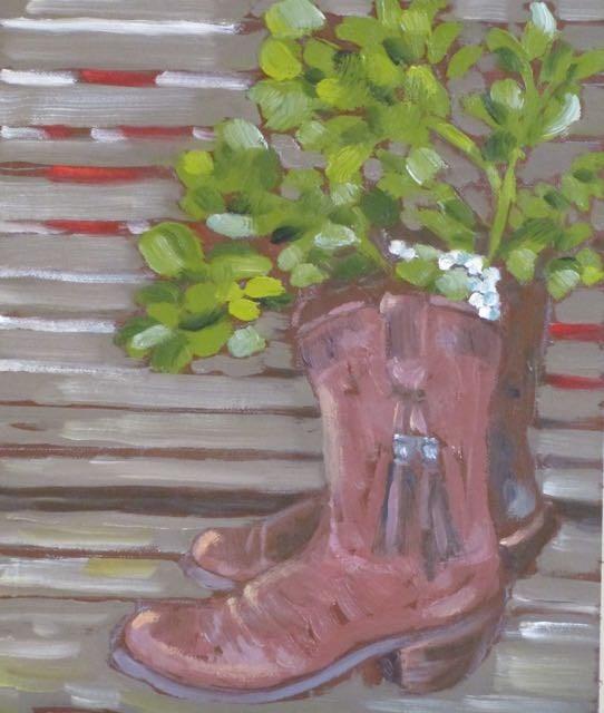 """Boots and Mistletoe"" original fine art by Judy Elias"