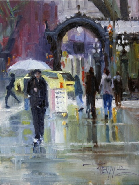 """""""White Umbrella Seattle cityscape, oil painting by Robin Weiss"""" original fine art by Robin Weiss"""