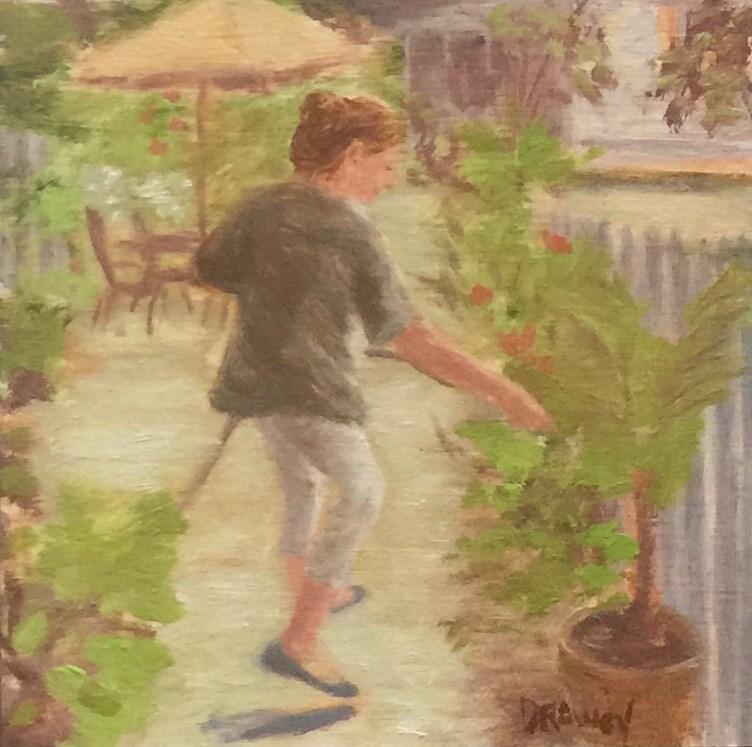 """Woman Watering Garden"" original fine art by Stephanie Drawdy"