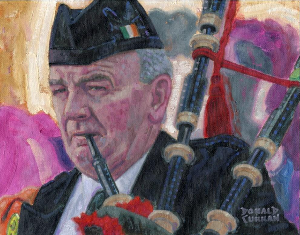 """""""Irish Piper"""" original fine art by Donald Curran"""