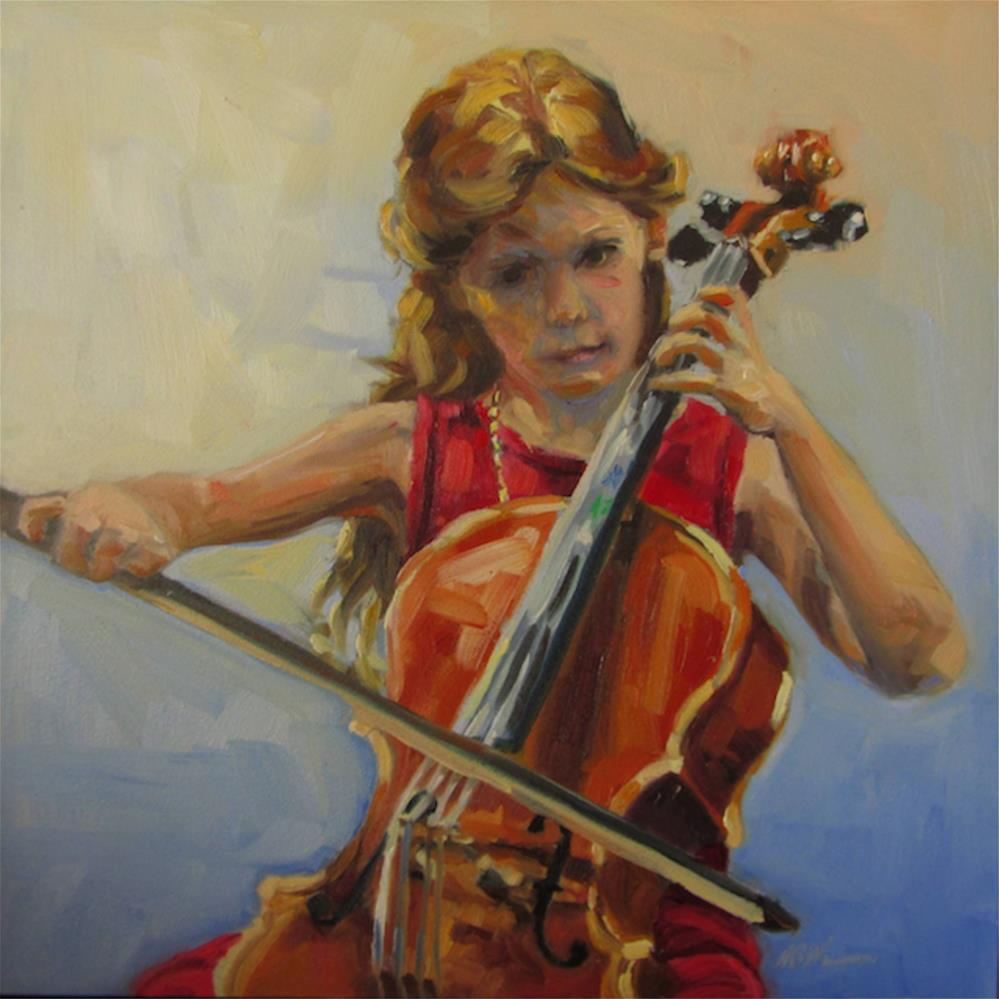 """THE CELLO STUDENT"" original fine art by Mb Warner"