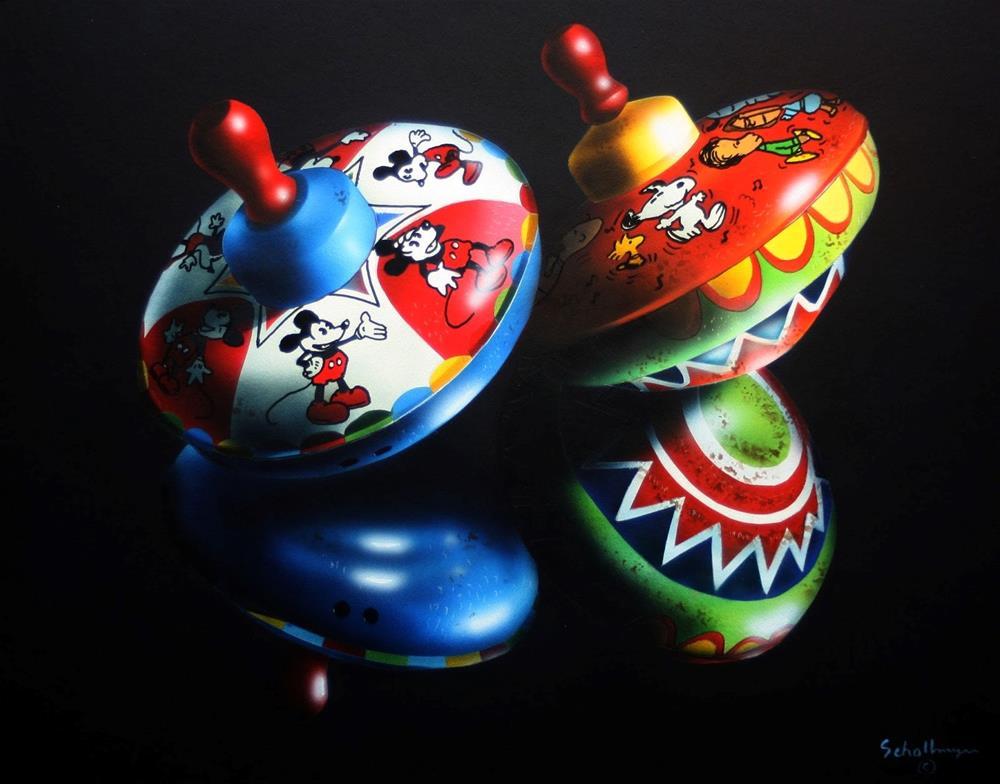 """Snoopy & Mickey Tops"" original fine art by Fred Schollmeyer"