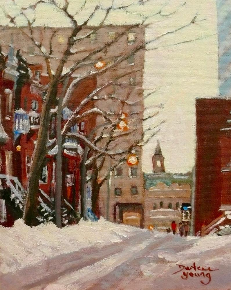 """1096 Montreal Winter Scene near UQAM"" original fine art by Darlene Young"