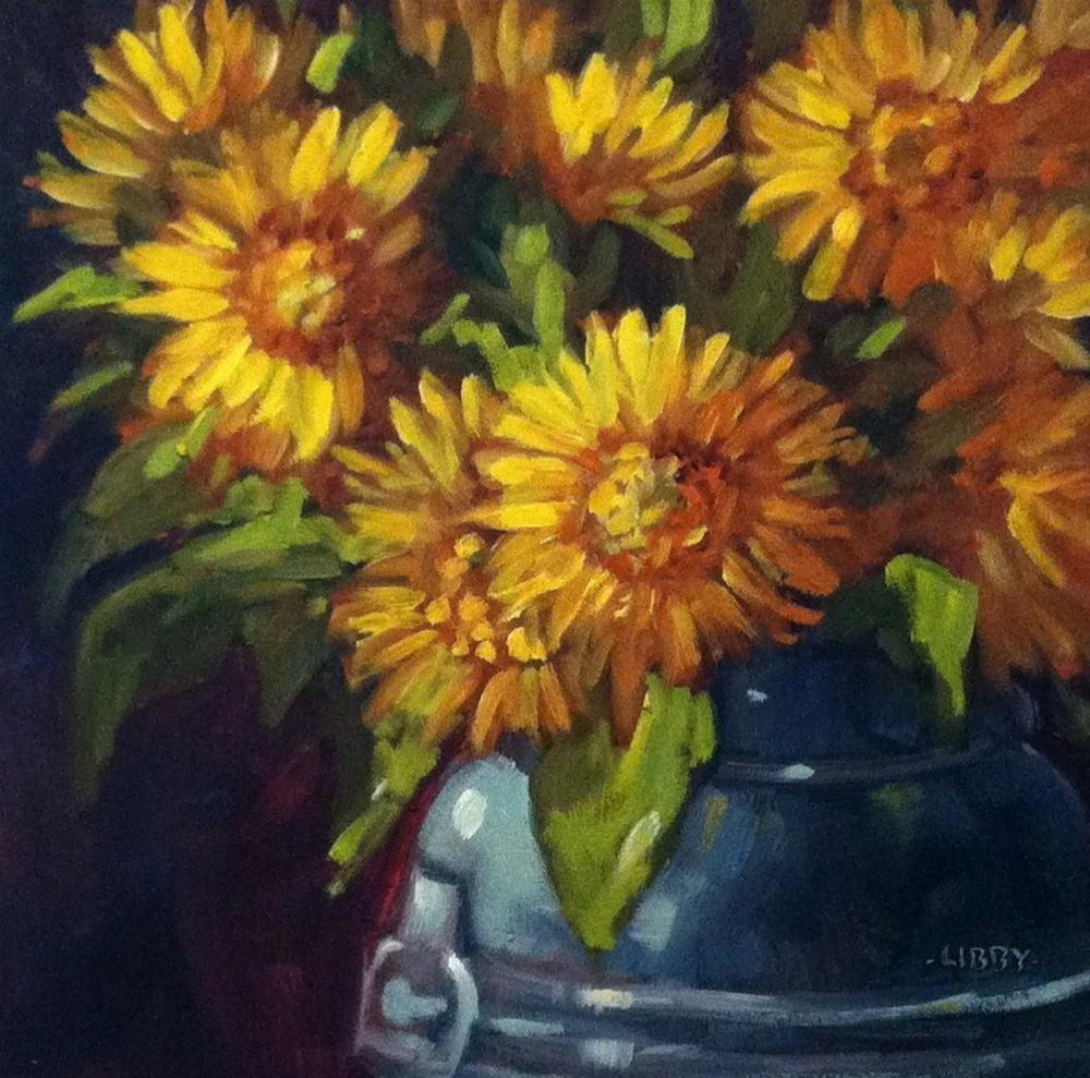 """Sunflower Meeting"" original fine art by Libby Anderson"