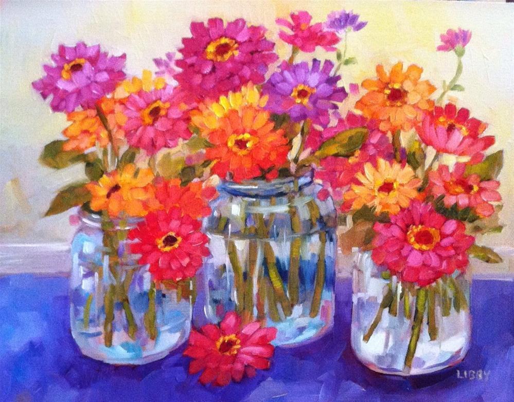 """Zinnia Trio"" original fine art by Libby Anderson"