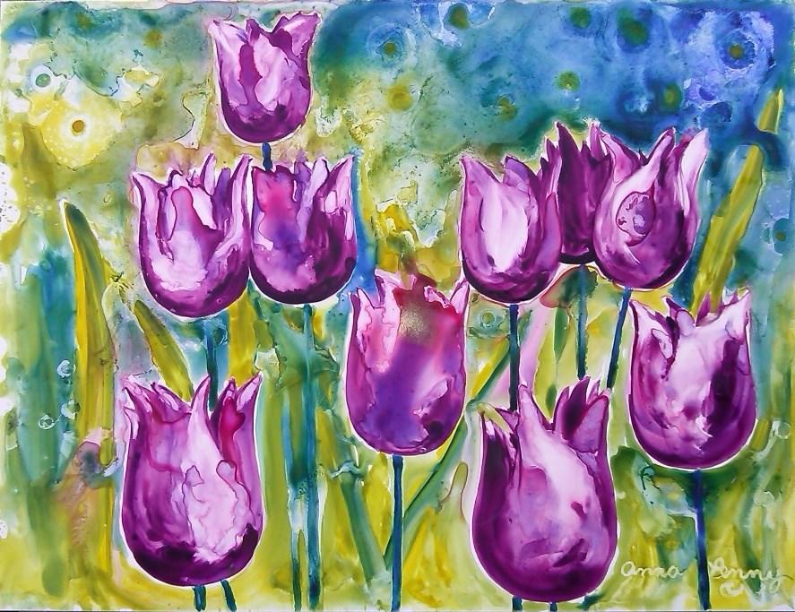 """Purple Tulips"" original fine art by Anna Penny"