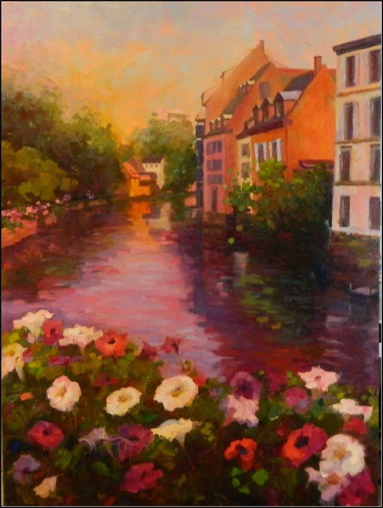 """A Taste of Alsace, 40 x30 oil on canvas, Strasbourg, France, Little Paris, paintings of Strasbourg"" original fine art by Maryanne Jacobsen"