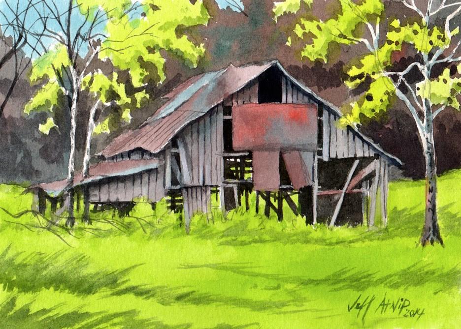 """Spring Barn"" original fine art by Jeff Atnip"