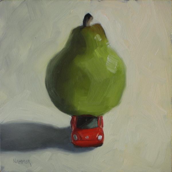 """Wide Load 6x6 oil"" original fine art by Claudia Hammer"