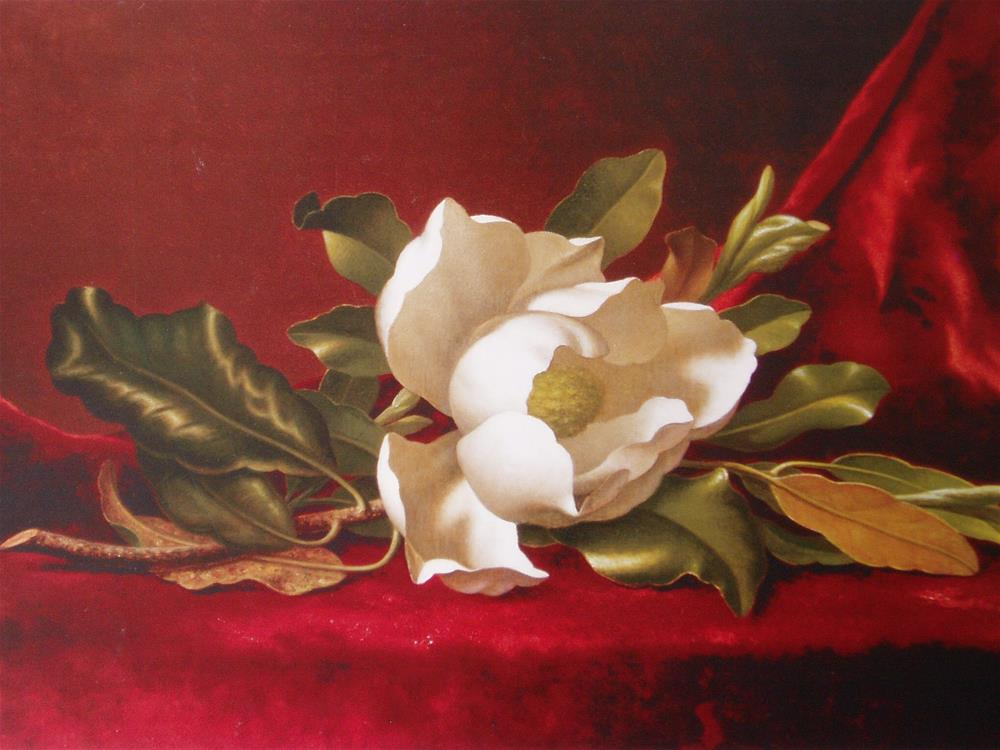 """Magnolias on Red Velvet"" original fine art by Barbara Wagner"