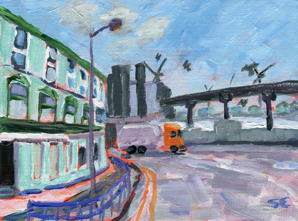 """Regent Road, Bootle, England"" original fine art by Stanley Epperson"