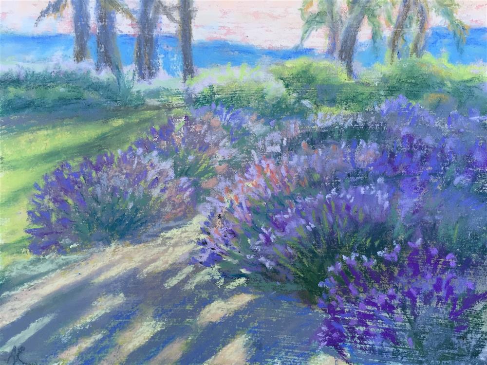 """Sunset on a Lavender farm"" original fine art by Natasha Ramras"
