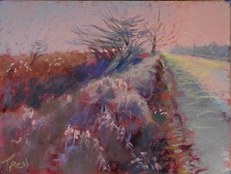 """""""Down the road"""" original fine art by Toby Reid"""