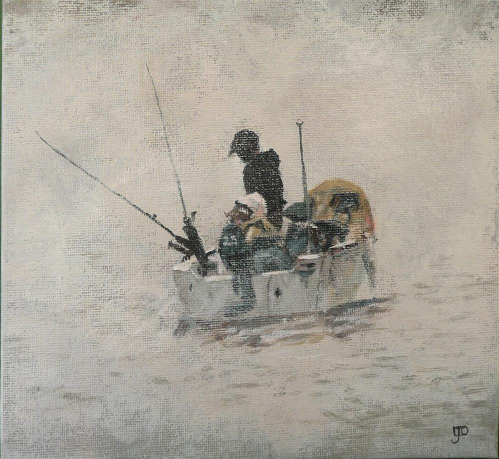 """""""Fishing In The Fog"""" original fine art by Leanne Owen"""
