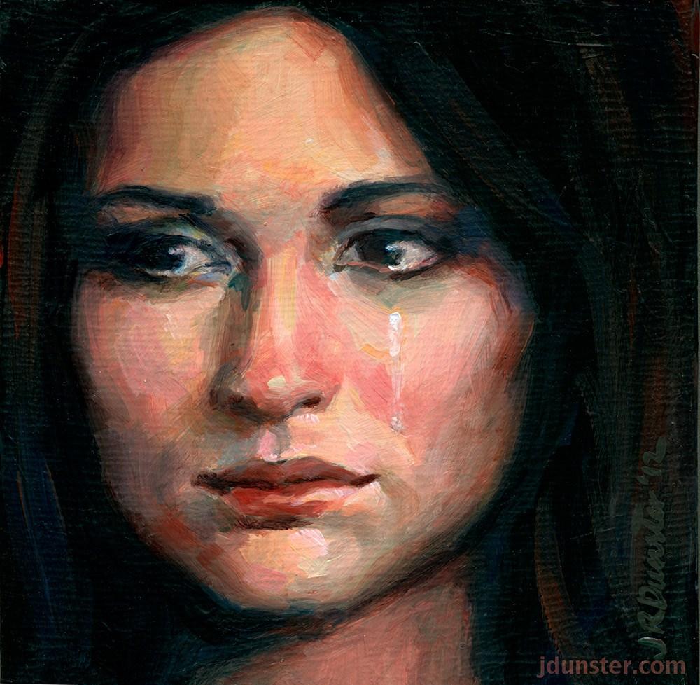 """Sad Tears"" original fine art by J. Dunster"