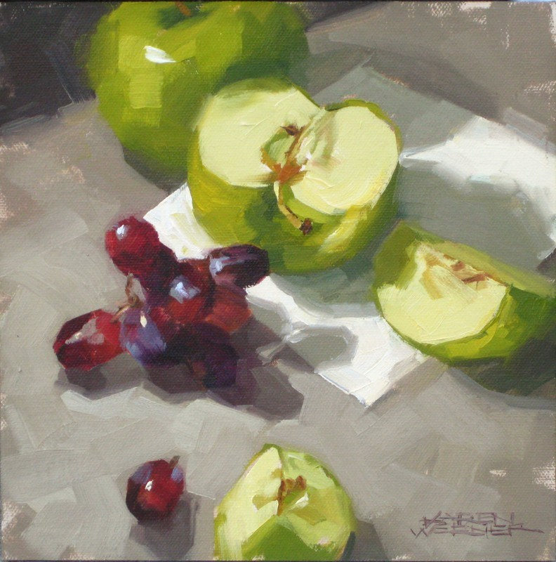 """Grapes & Granny"" original fine art by Karen Werner"