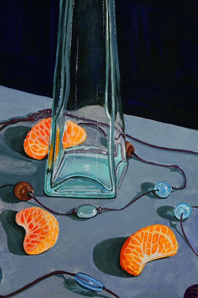 """""""Blue Beads and Orange Slices"""" original fine art by Brandy Woodford"""