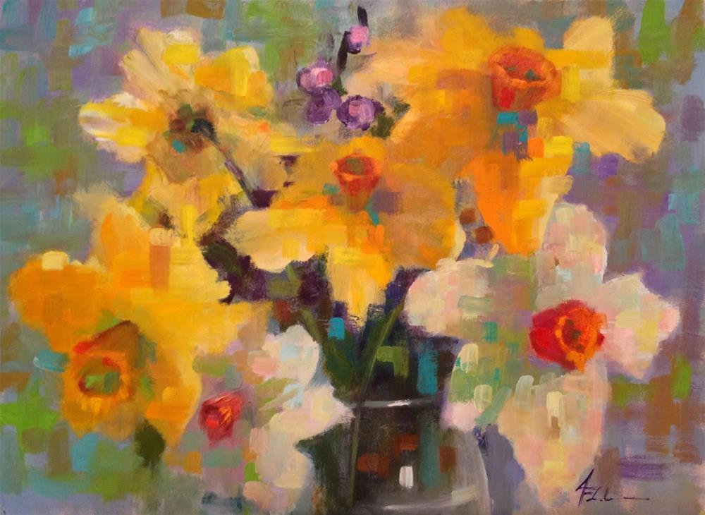 """""""Daffodils, 16x12"""" original fine art by Ann Feldman"""