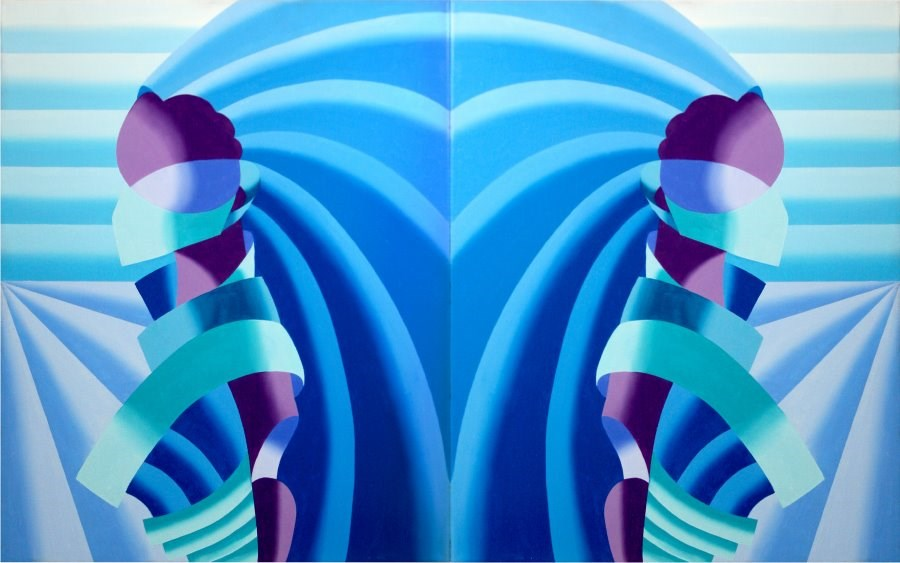 """Mark Webster - The Elephant in the Room Abstract Geometric Oil Painting"" original fine art by Mark Webster"