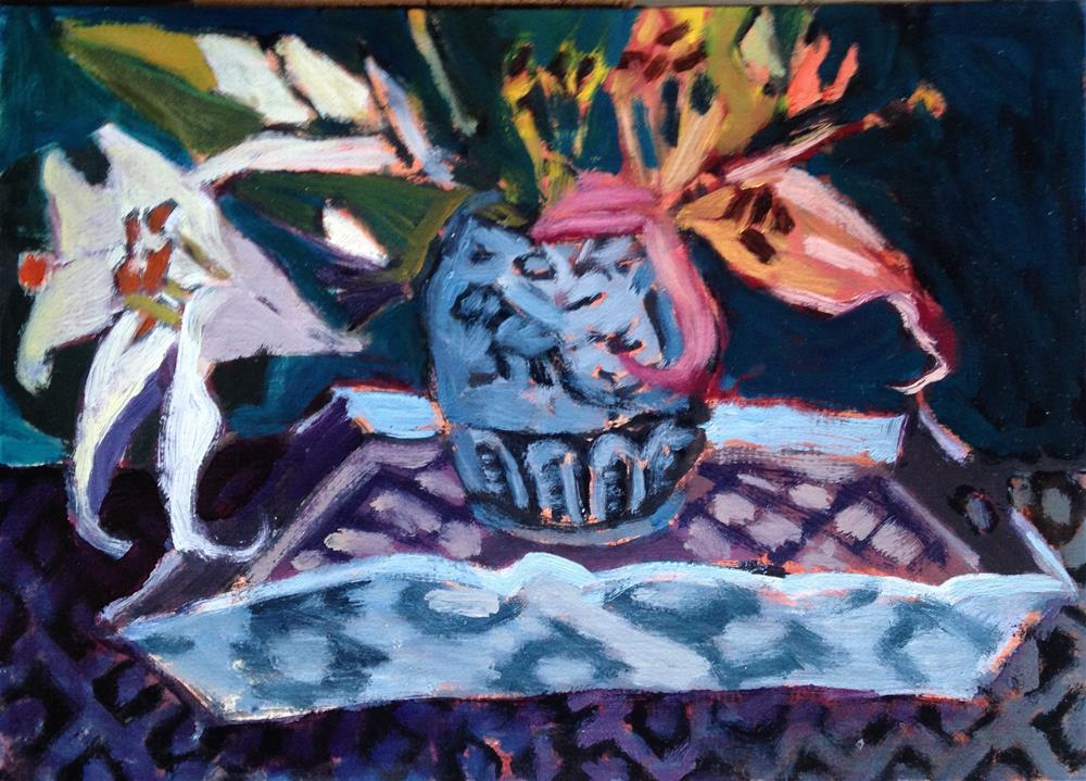 """Lilies Dancing On a Tray"" original fine art by Pamela Hoffmeister"