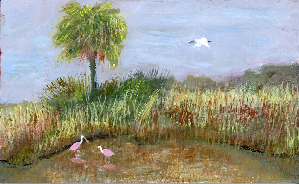 """Palm and Spoonbills"" original fine art by Judy Robinson"