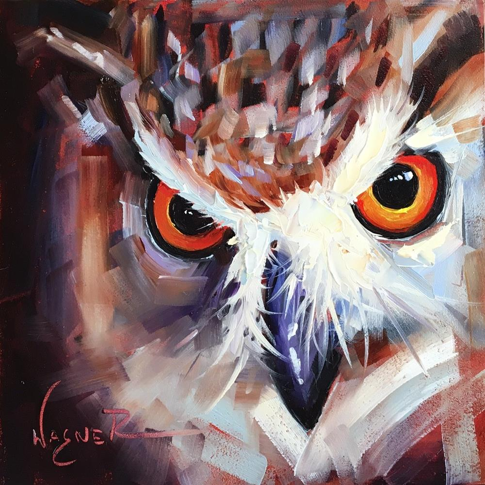 """""""ORIGINAL CONTEMPORARY OWL Painting on Panel  in OILS by OLGA WAGNER"""" original fine art by Olga Wagner"""