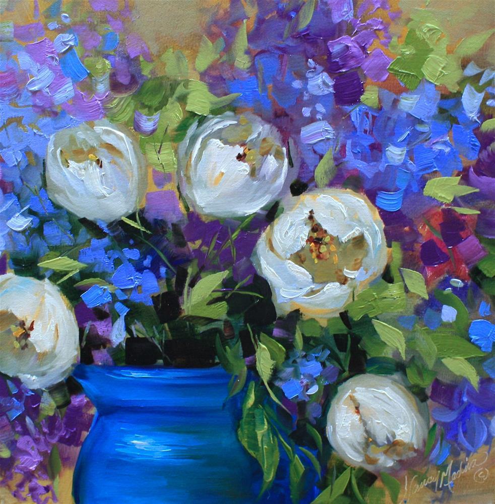 """The Kiss, White Tulips"" original fine art by Nancy Medina"