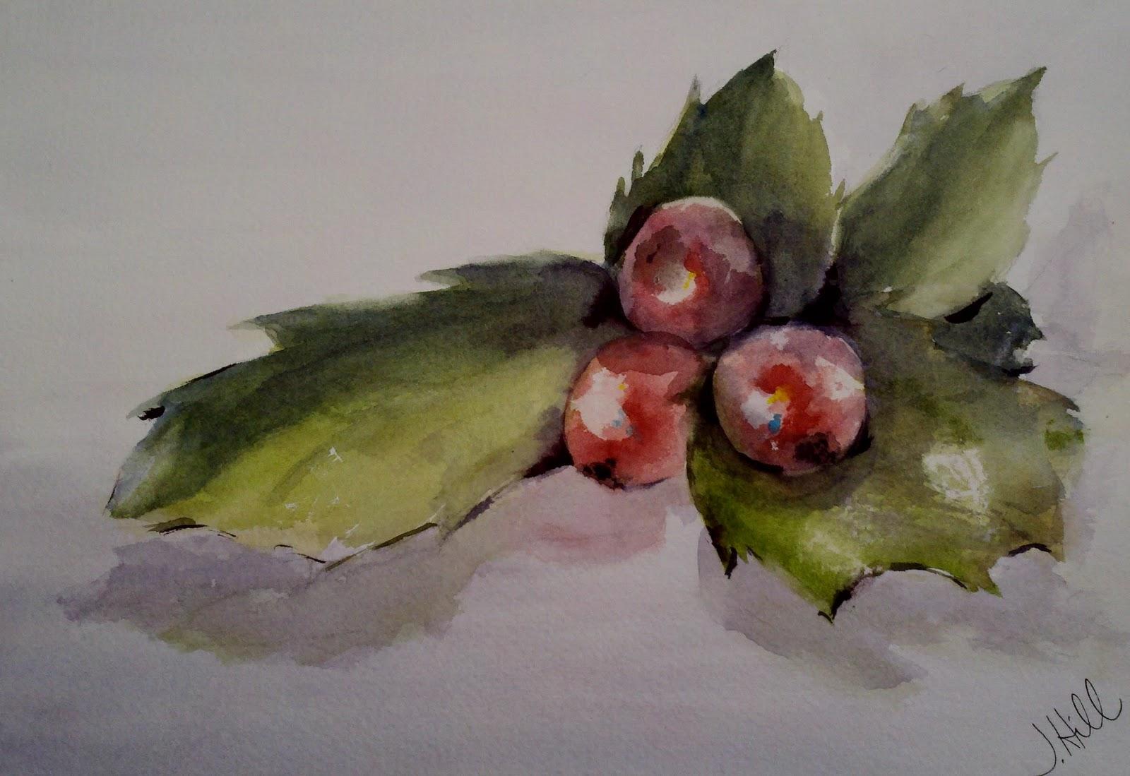 """Ho Ho Holly"" original fine art by Julie Hill"
