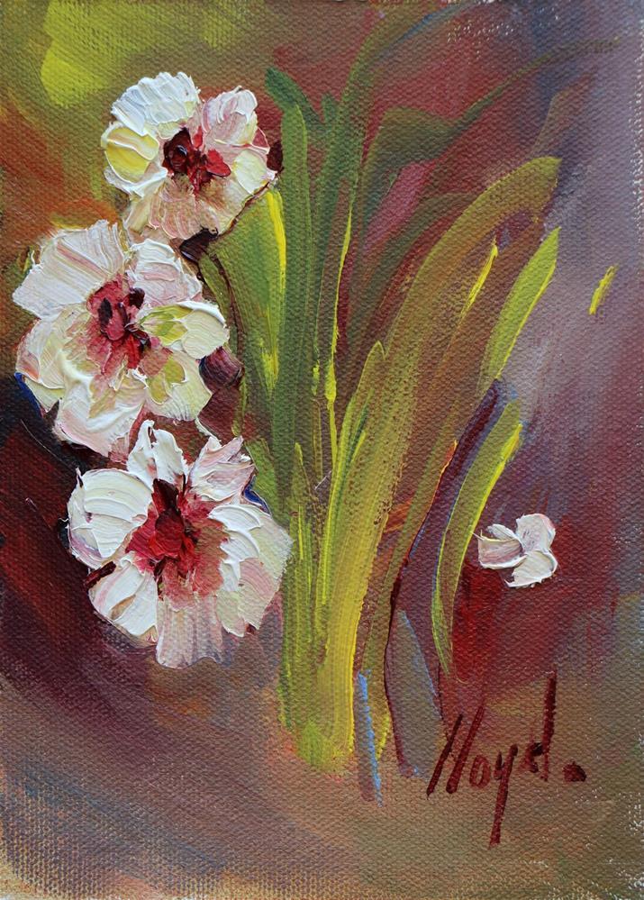 """""""Three Flowers and a Petal"""" original fine art by Diane Lloyd"""