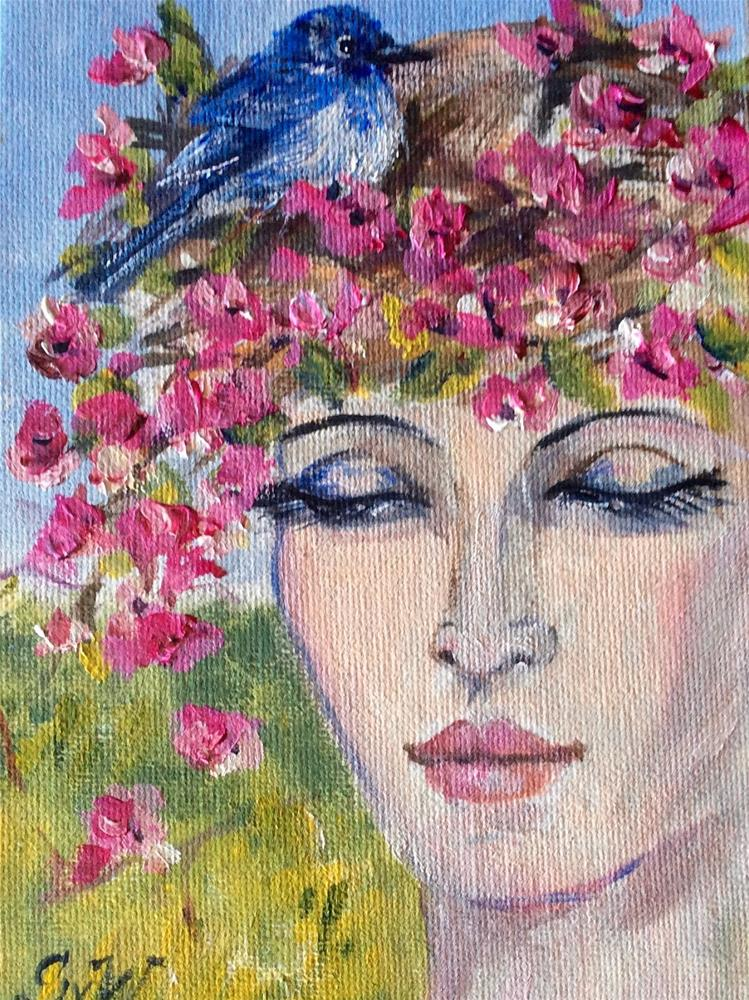 """Lady with bluebird"" original fine art by Sonia von Walter"