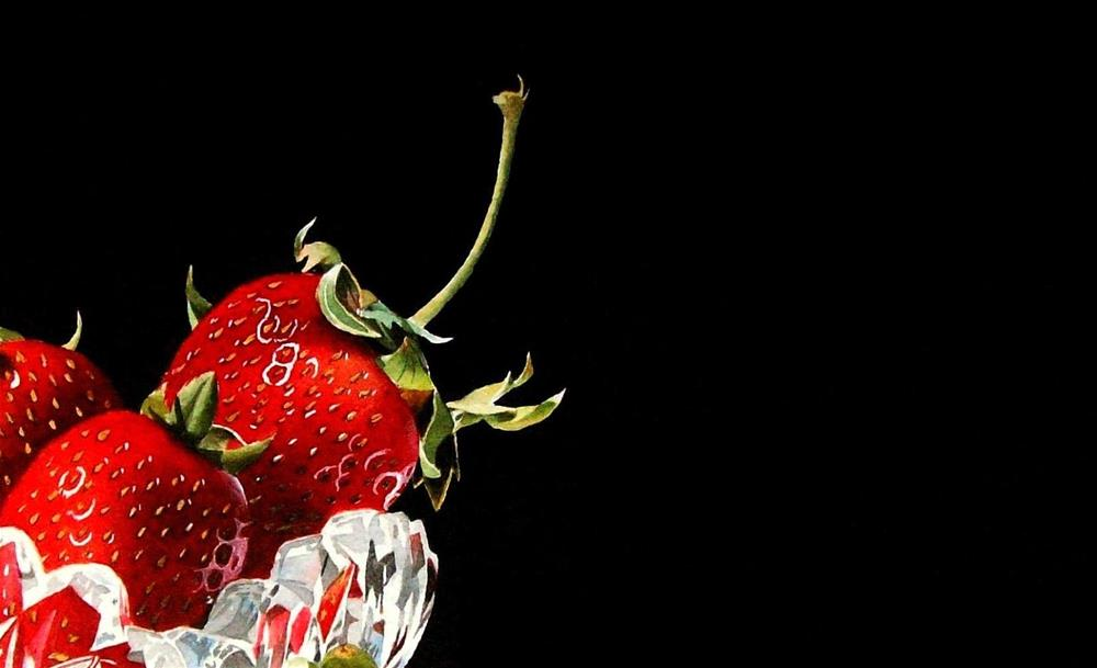 """""""Strawberries and a new project..."""" original fine art by Jacqueline Gnott, TWSA, WHS"""