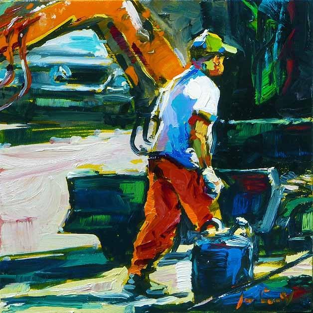 """construction worker"" original fine art by Jurij Frey"
