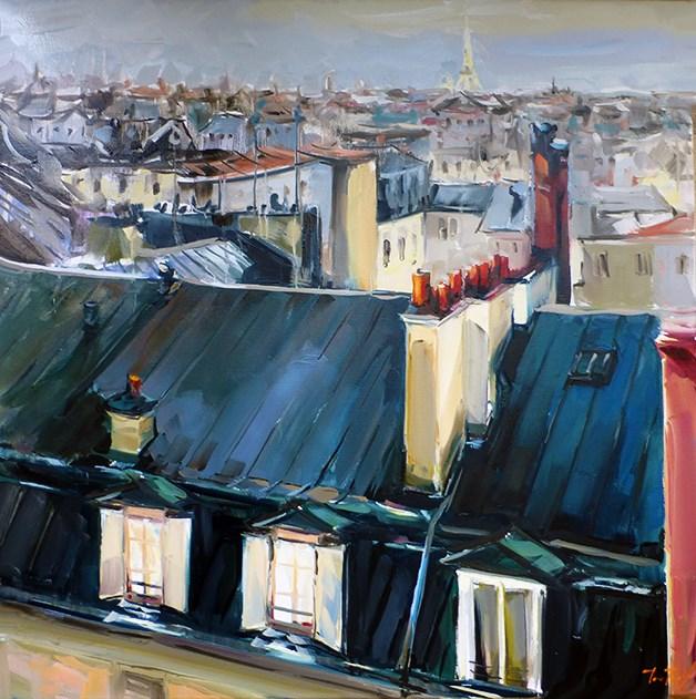 """""""Dächer von Paris"""" original fine art by Jurij Frey"""