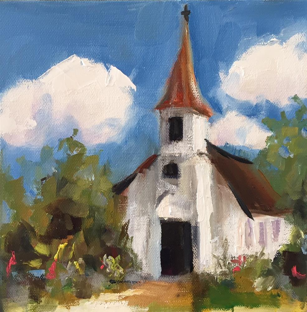 """The Little Church in the Woods"" original fine art by Marcia Hodges"