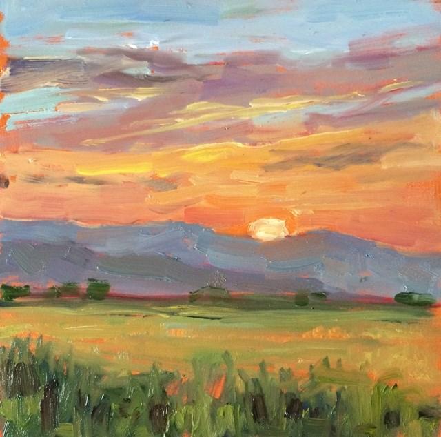 """""""Montana sunset"""" original fine art by Deborah Newman"""