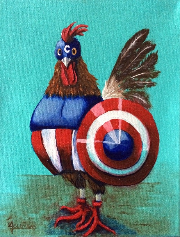 """Captain Chickin"" original fine art by Jolynn Clemens"