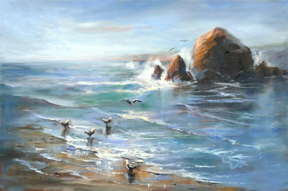 """""""The Locals at Haystack Rock"""" original fine art by Sharon Abbott-Furze"""