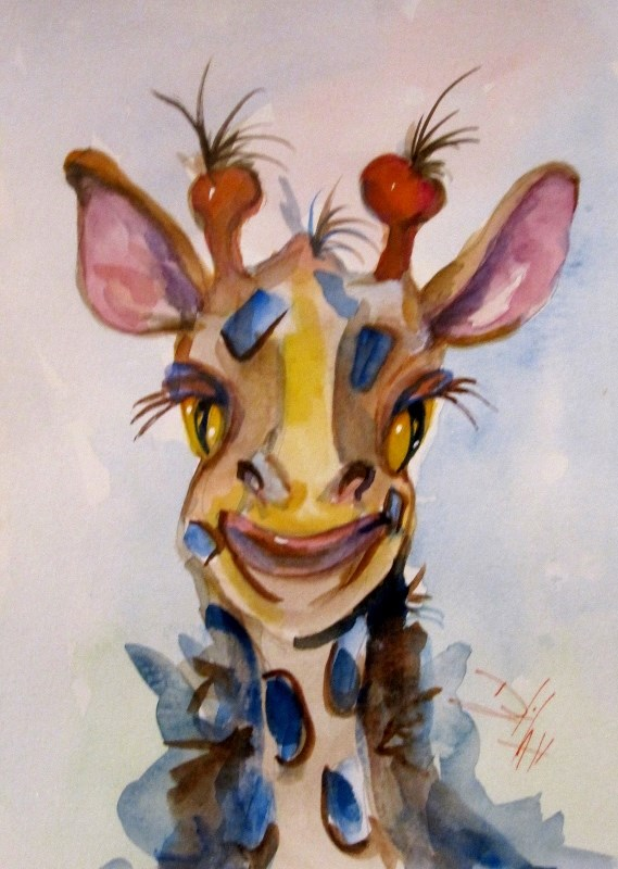 """Giraffe"" original fine art by Delilah Smith"