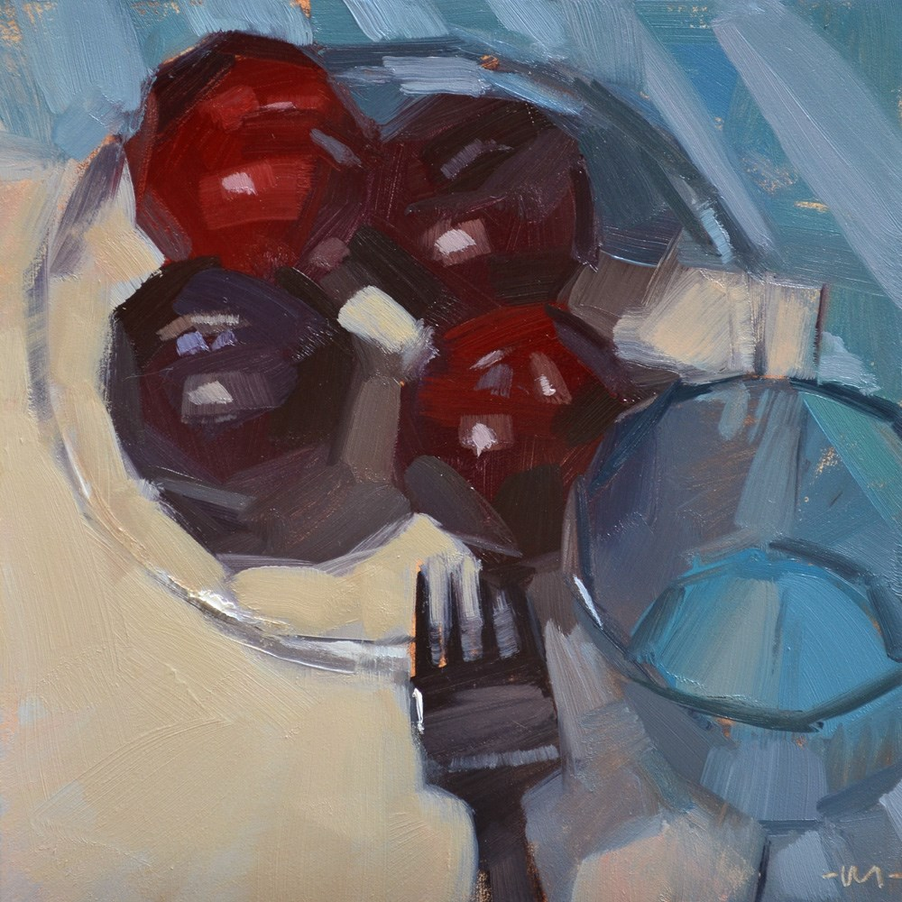 """Plums Four Me"" original fine art by Carol Marine"