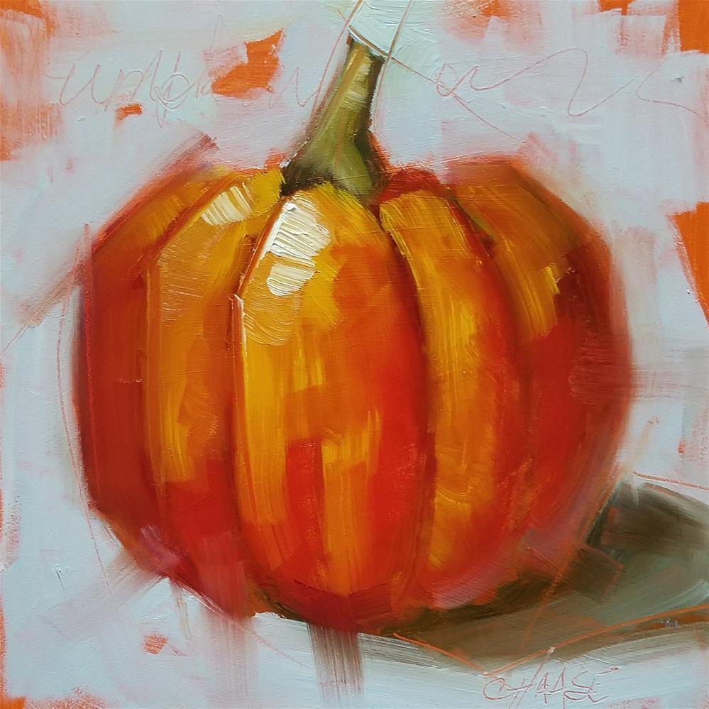 """Pumpkin on Aqua"" original fine art by Cindy Haase"