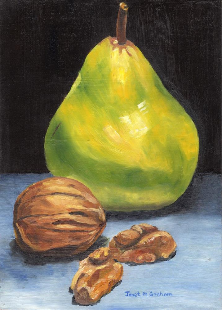"""""""Pear and Walnuts"""" original fine art by Janet Graham"""