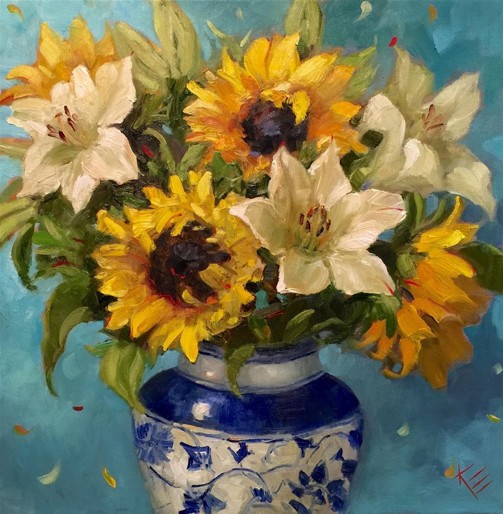 """Sunflowers in Blue in White"" original fine art by Krista Eaton"