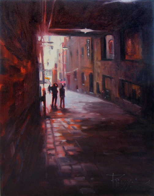 """""""Capturing Post Alley  Seattle city scenes, urban oil painting"""" original fine art by Robin Weiss"""