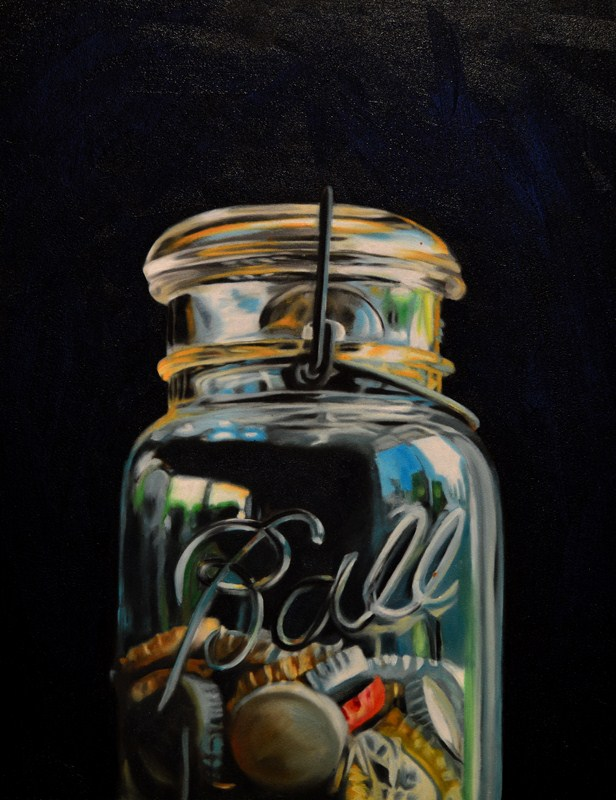 """Jar of Bottle Caps"" original fine art by Lauren Pretorius"