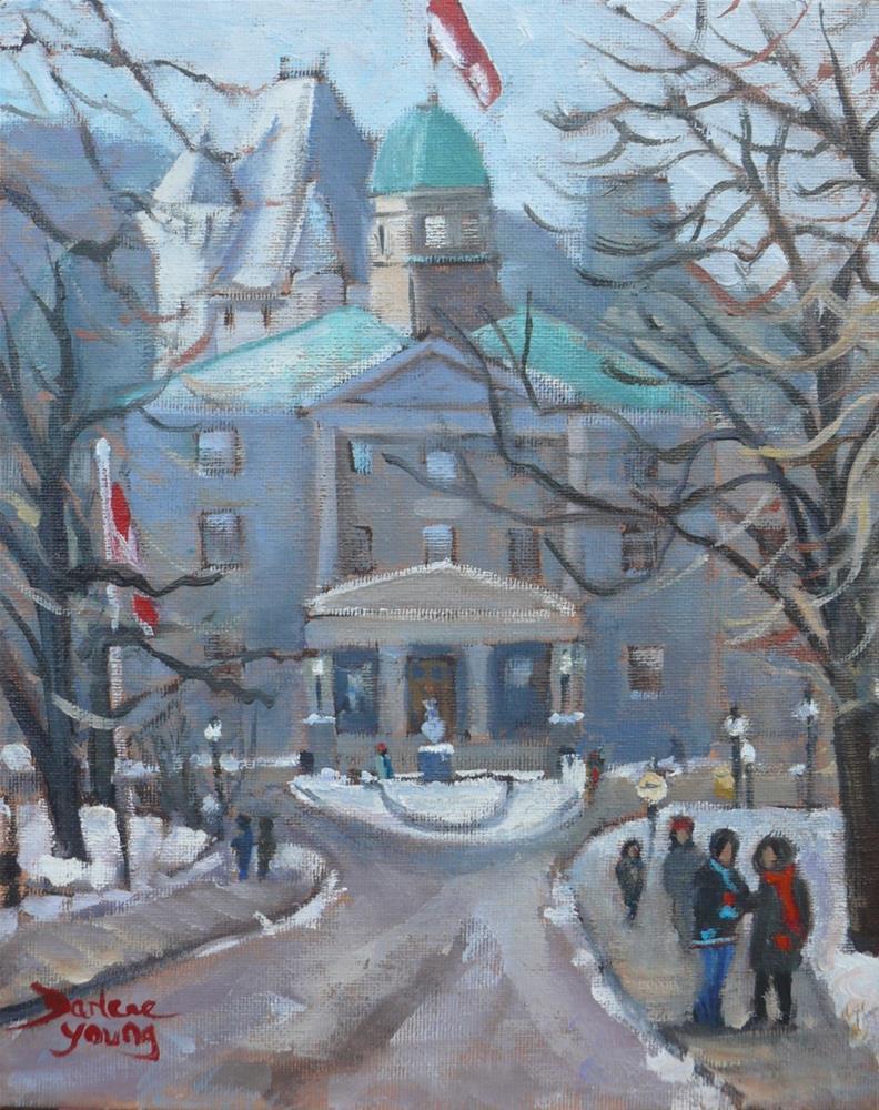 """""""1081 McGill University Winter Scene, 8x10, oil on board"""" original fine art by Darlene Young"""
