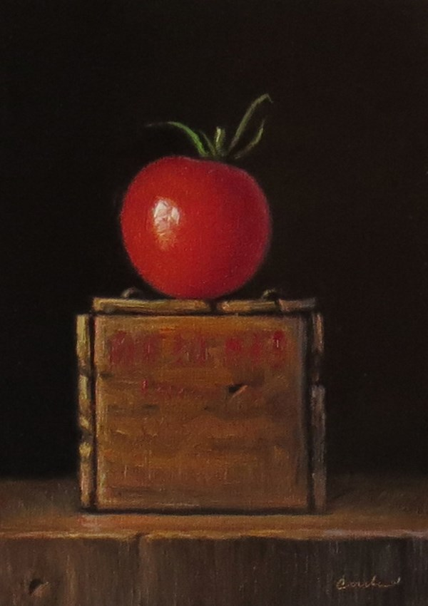 """Still Life with Vintage Cheese Crate and Tomato"" original fine art by Darla McDowell"