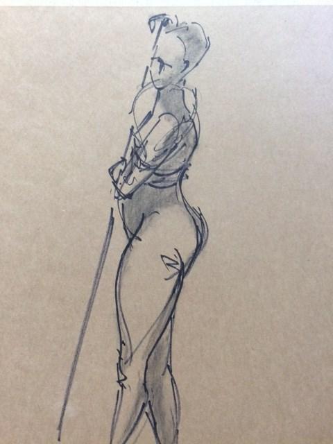 """Woman with a pole"" original fine art by Naomi Bautista"