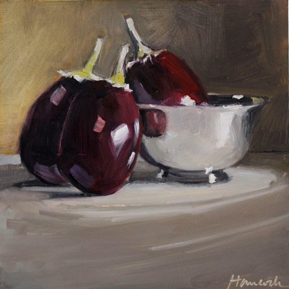 """""""Three Eggplant Revere-style Silver Bowl"""" original fine art by Gretchen Hancock"""