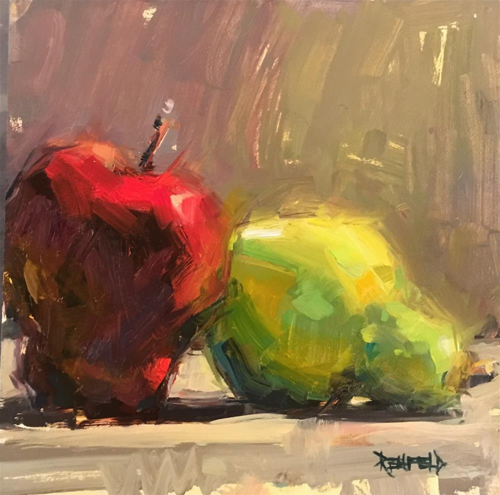 """Glowing Apple and Pear"" original fine art by Cathleen Rehfeld"